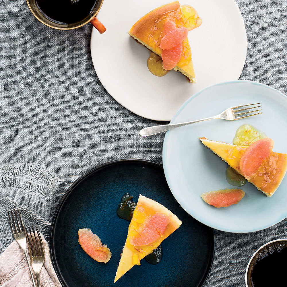 New York-Style Cheesecake with Pink Grapefruit and Marmalade