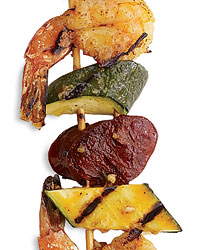 Mexican Kebab Party: Shrimp, Chorizo and Zucchini