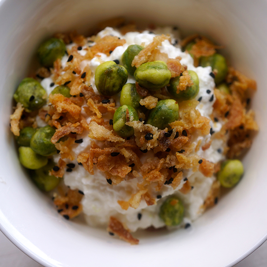 Cottage cheese with Instant Wasabi Topping