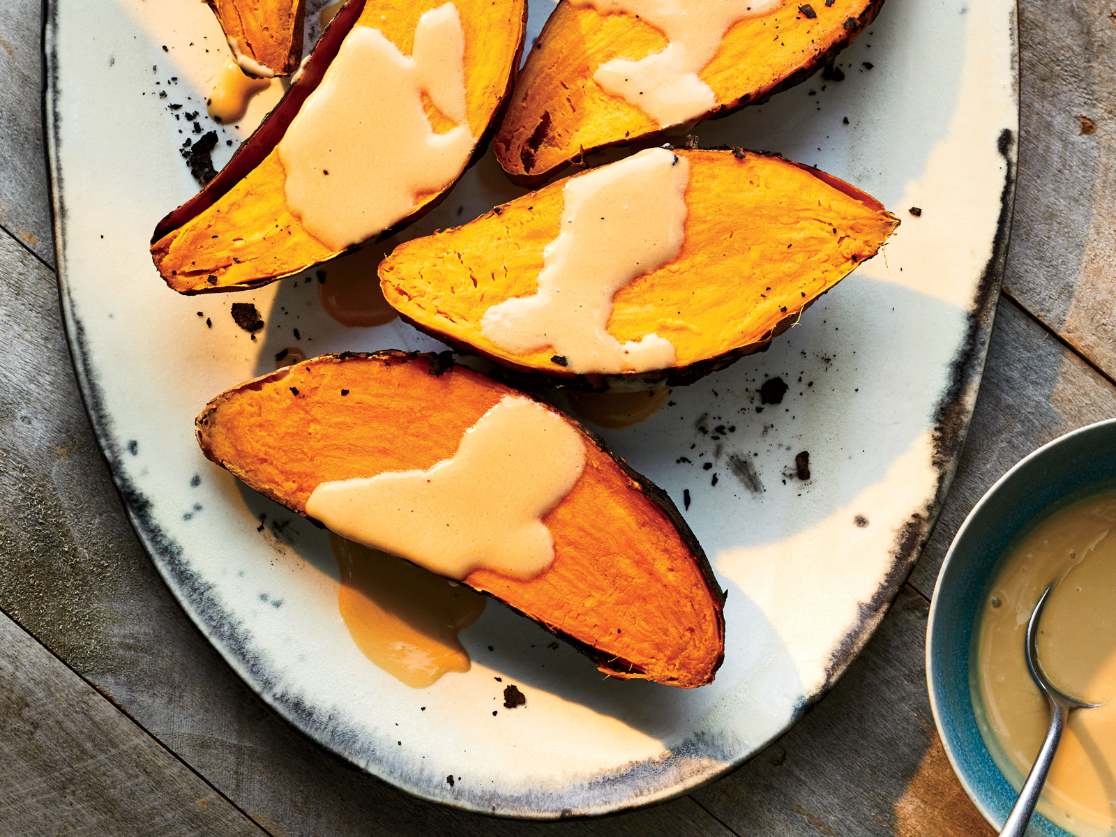 Ember-Roasted Sweet Potatoes with Coconut Caramel