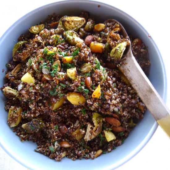 Red Quinoa Salad with Brussels Sprouts, Apricots and Almonds