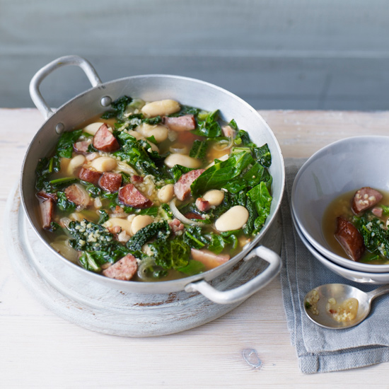 Bean-Sausage Soup with Sautéed Spring Greens