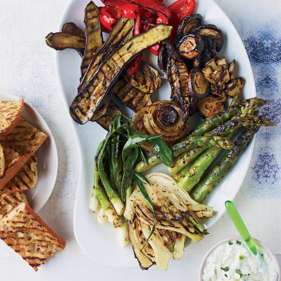 Spicy Jerk Vegetables with Yogurt-Scallion Sauce