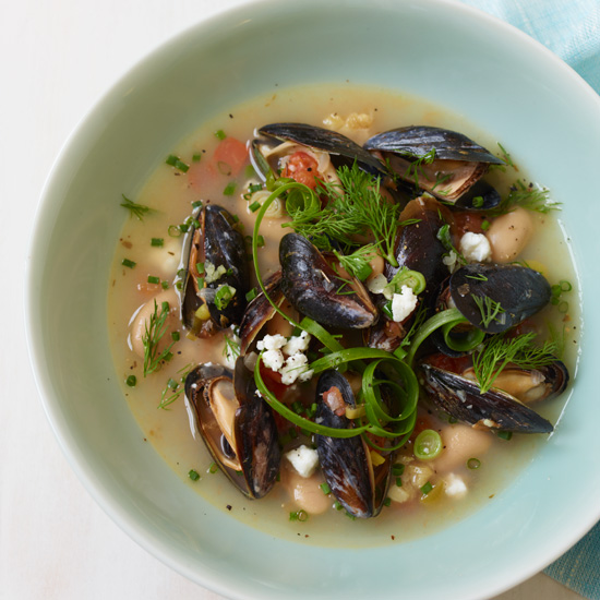 Fragrant Gigante Beans with Garlic Confit and Mussels