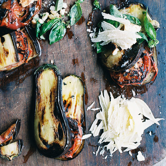 Grilled Eggplant and Tomatoes with Parmesan-Basil Crumbs