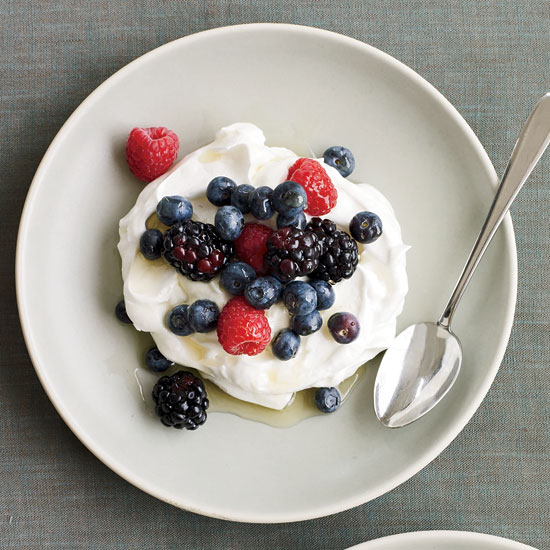 Berry-Yogurt Pavlovas with Chamomile-Lavender Syrup