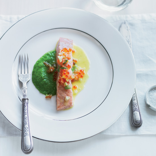Salmon with Pea-Wasabi Puree and Yuzu