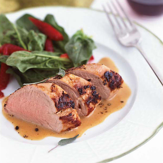 Day 9: Milk-Braised Pork Tenderloin with Spinach and Strawberry Salad