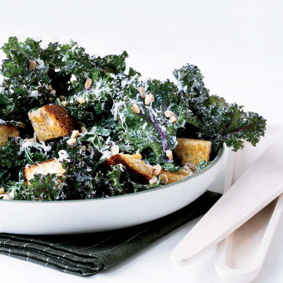 Kale Caesar Salad with Rye Croutons and Farro