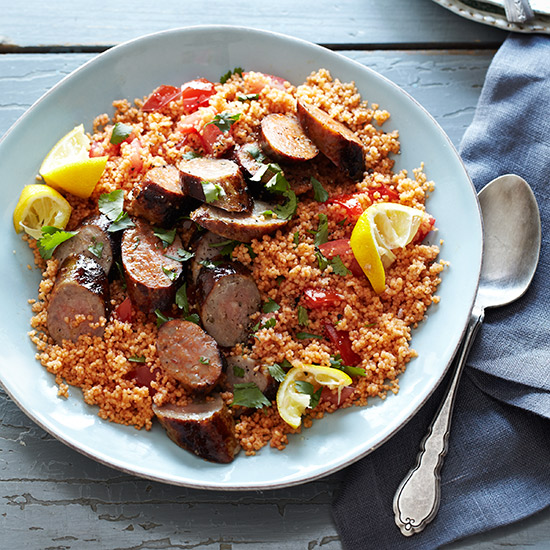 Tunisian Couscous Salad with Grilled Sausages