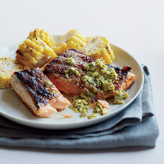 Salmon-and-Corn Mixed Grill