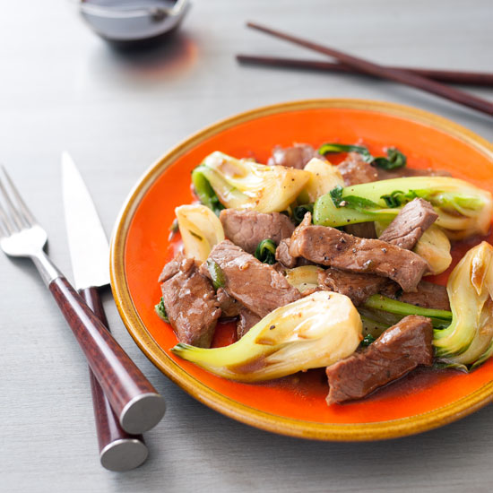 Stir-Fried Sirloin with Ginger and Bok Choy