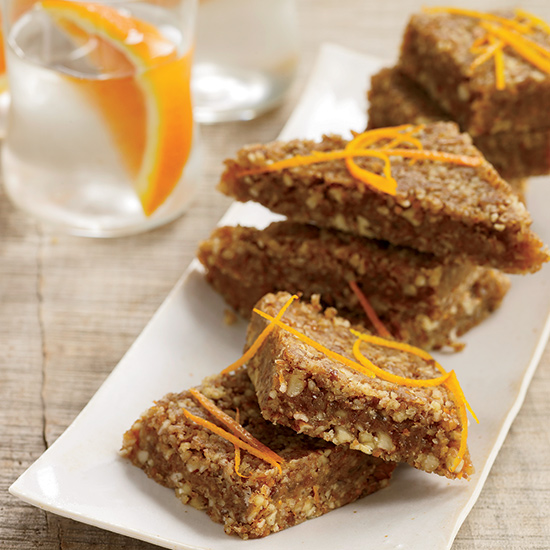 Orange-Cardamom Date Bars with a Nutty Crust