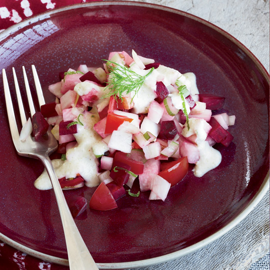 Beet, Fennel and Jicama Salad with Macadamia Nut Dressing