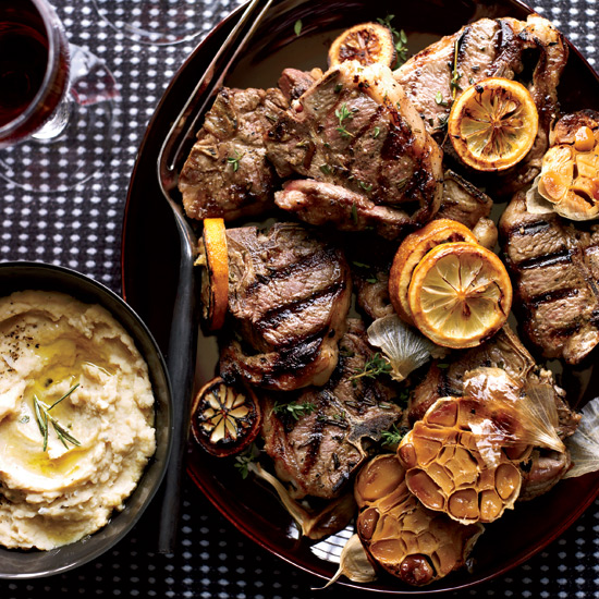 Grilled Lamb Chops with Roasted Garlic