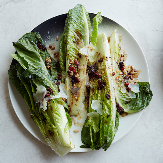 Roasted Romaine with Pine Nut Vinaigrette