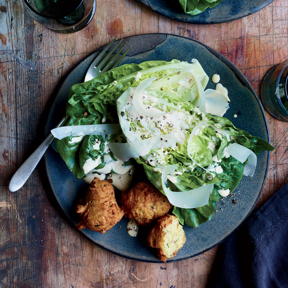 Caesar Salad with Anchovy Fritters
