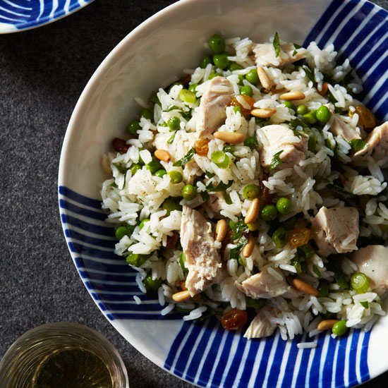 Chicken and Rice Salad with Pine Nuts and Lemon