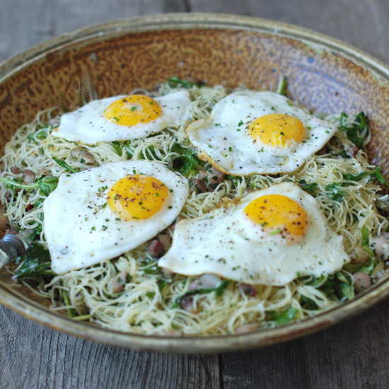 Spaghettini with Arugula, Pancetta, Herbs and Eggs