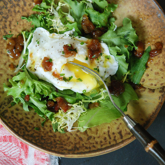 One-Eyed Salad with Winter Greens and Brown Sugar-Bacon Vina
