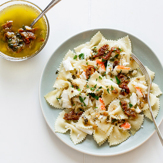 Farfalle with Crabmeat and Oregano Butter