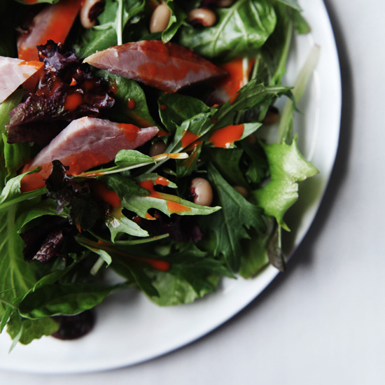 Mixed Greens with Smoked Ham & Roasted Red Pepper Dressing