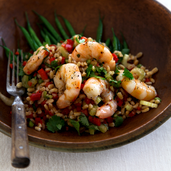 Shrimp and Barley Salad with Green Beans
