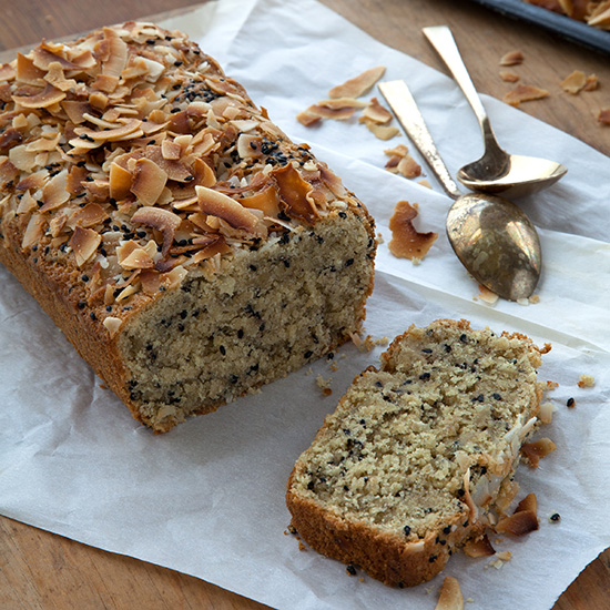 Triple Coconut-Black Sesame Quick Bread