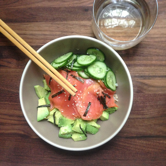 A Smoked Salmon Rice Bowl with Riesling