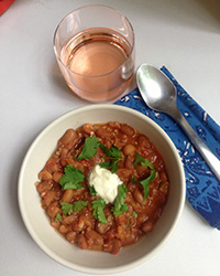 Fresh Bean and Tomato Chili with Rosé