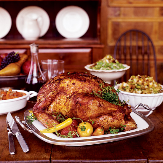 Paprika-Glazed Turkey with Pumpkin-Seed Bread Salad