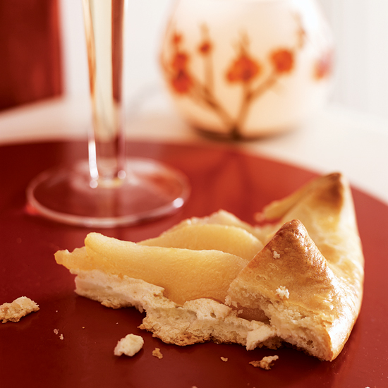 Ricotta and Prosecco Poached Pear Crostatas