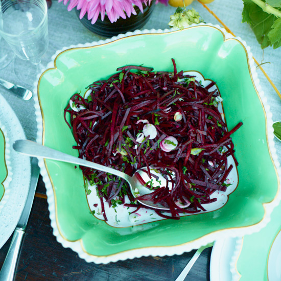 Spicy Raw Beet Slaw with Citrus, Scallions and Arugula