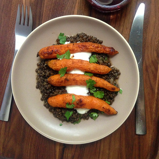 Spice-Roasted Carrots with Middle Eastern–Style Lentils with Côtes du Rhône