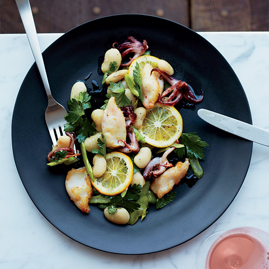 Charred Squid with Beans and Meyer Lemon