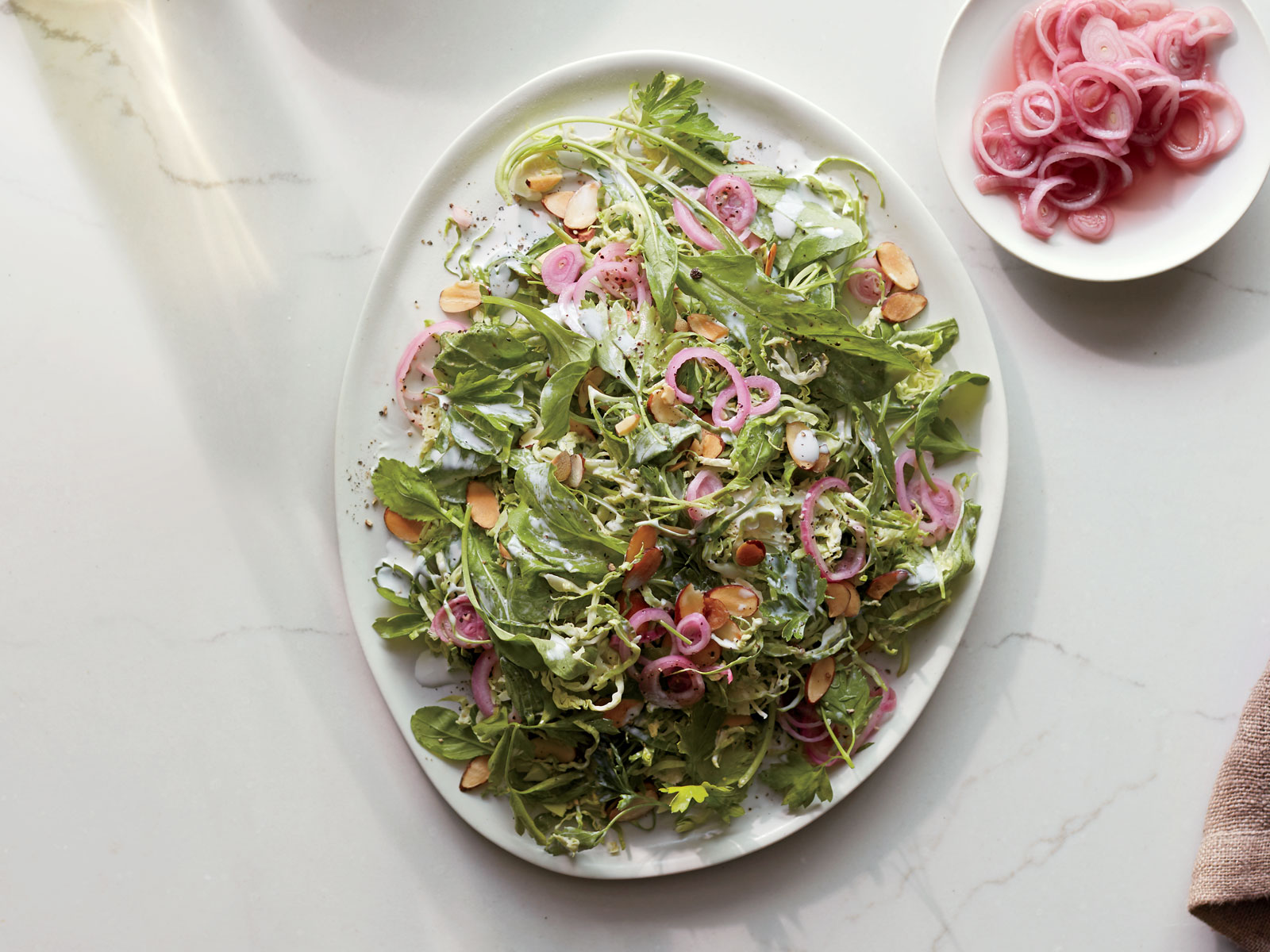 Brussels Sprouts and Arugula Salad with Buttermilk Dressing