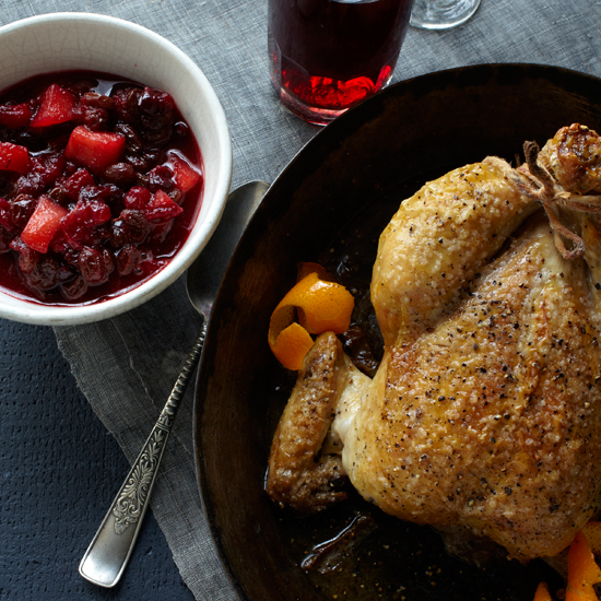 Roast Chicken with Cranberry-Apple-Raisin Chutney