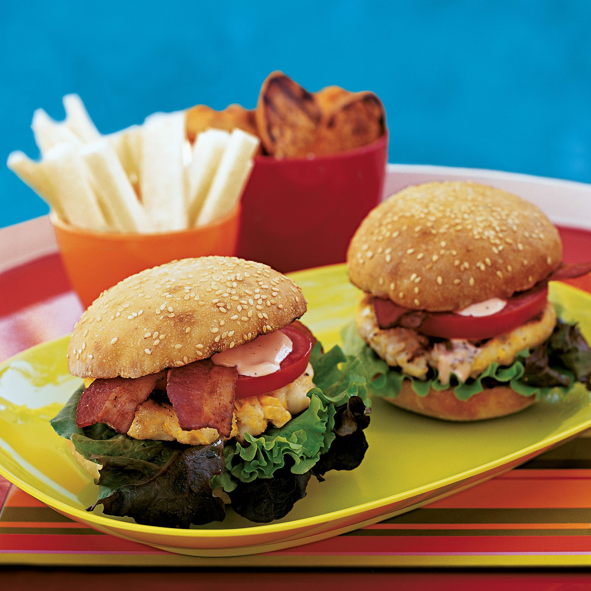 Scallop and Corn Bacon Burgers with Spicy Mayo
