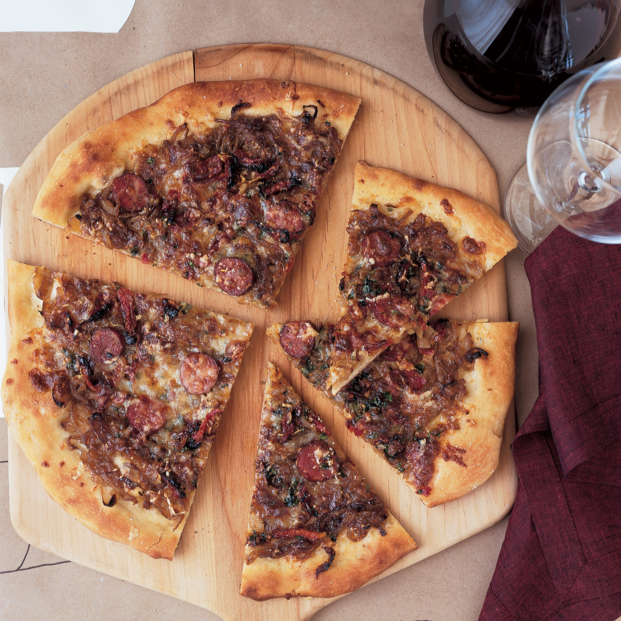 Andouille Pizza with Onion Confit and Fontina Cheese ...