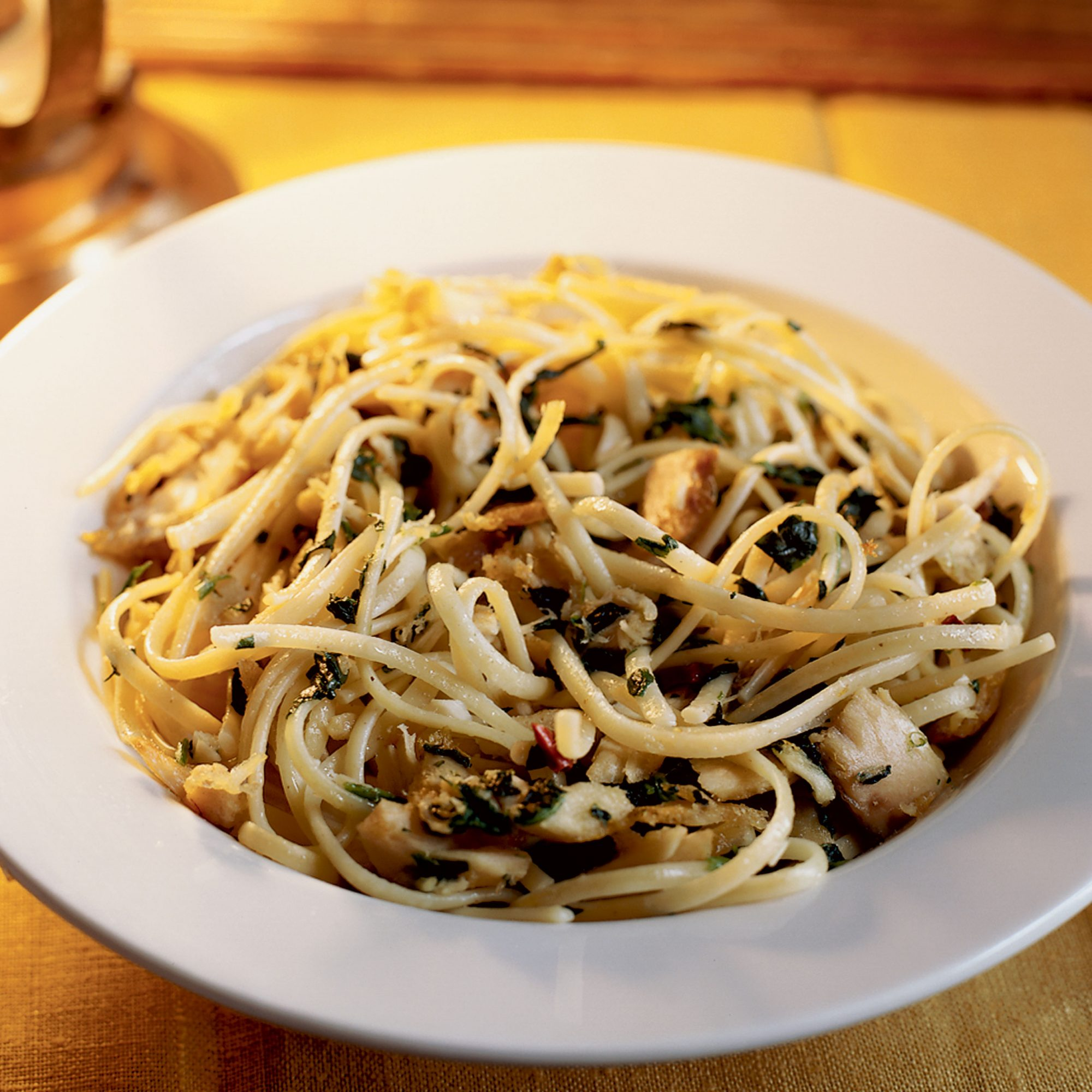 Midnight pasta with tuna pancetta and spinach recipe steven wagner food wine for Tuna fish pasta