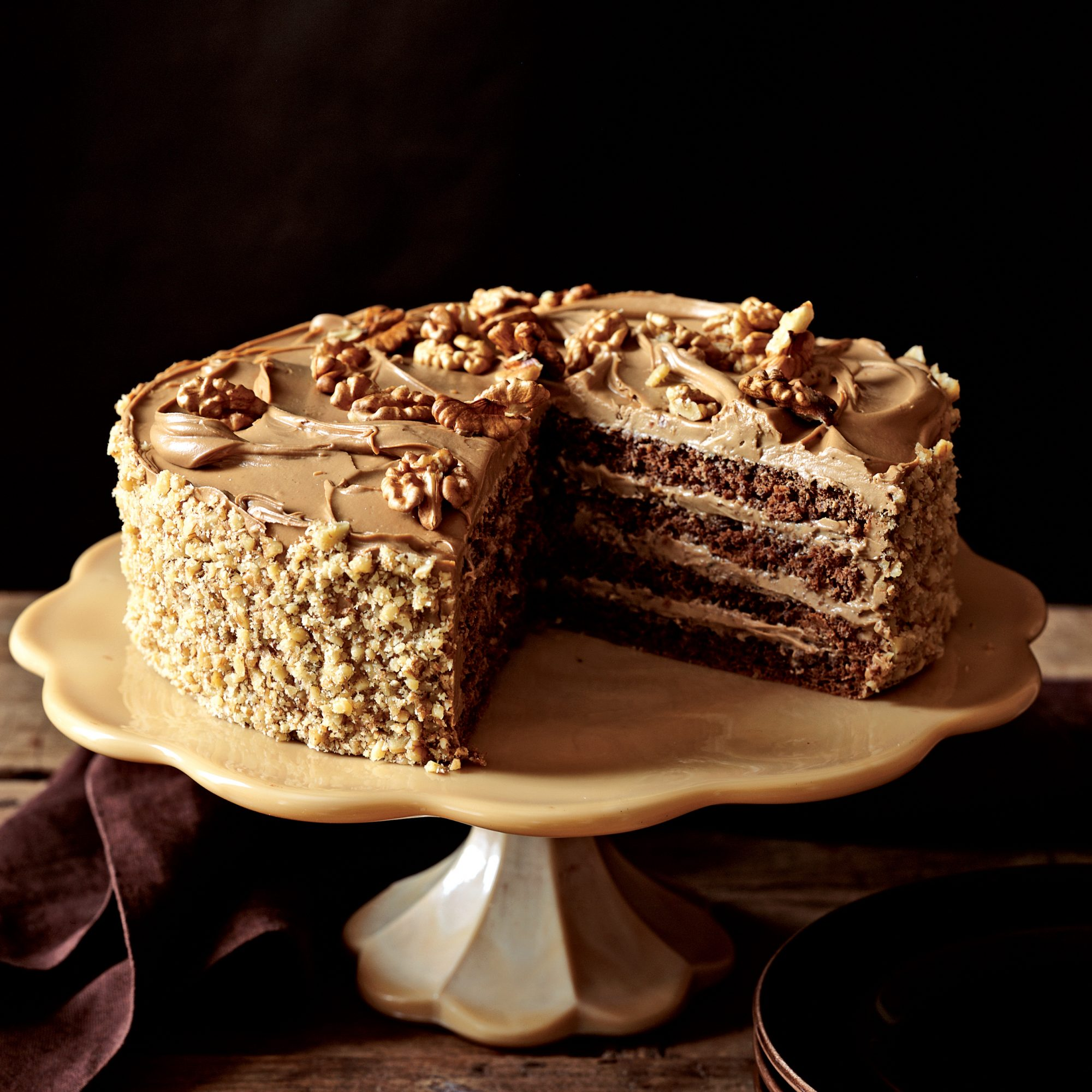 Rum-Mocha Walnut Layer Cake Recipe - Greg Patent | Food & Wine