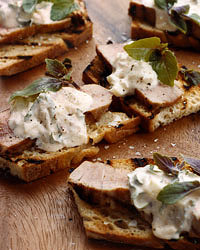 Bruschetta and Crostini Recipes like Grilled Tuna Bruschetta with Chipotle Crème Fraîche