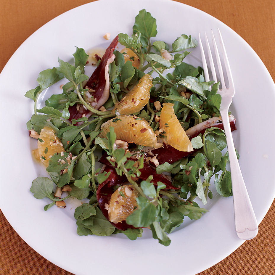 Watercress Salad with Prosciutto, Tangerines and Hazelnuts