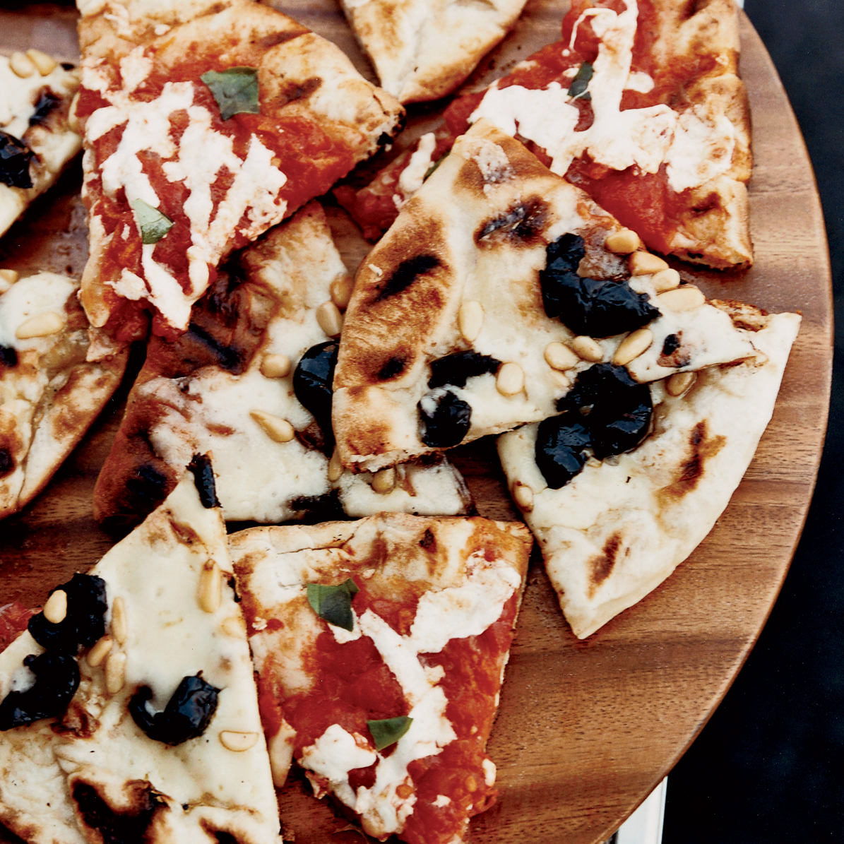 Grilled Margherita and Olive-Fontina Pizzas