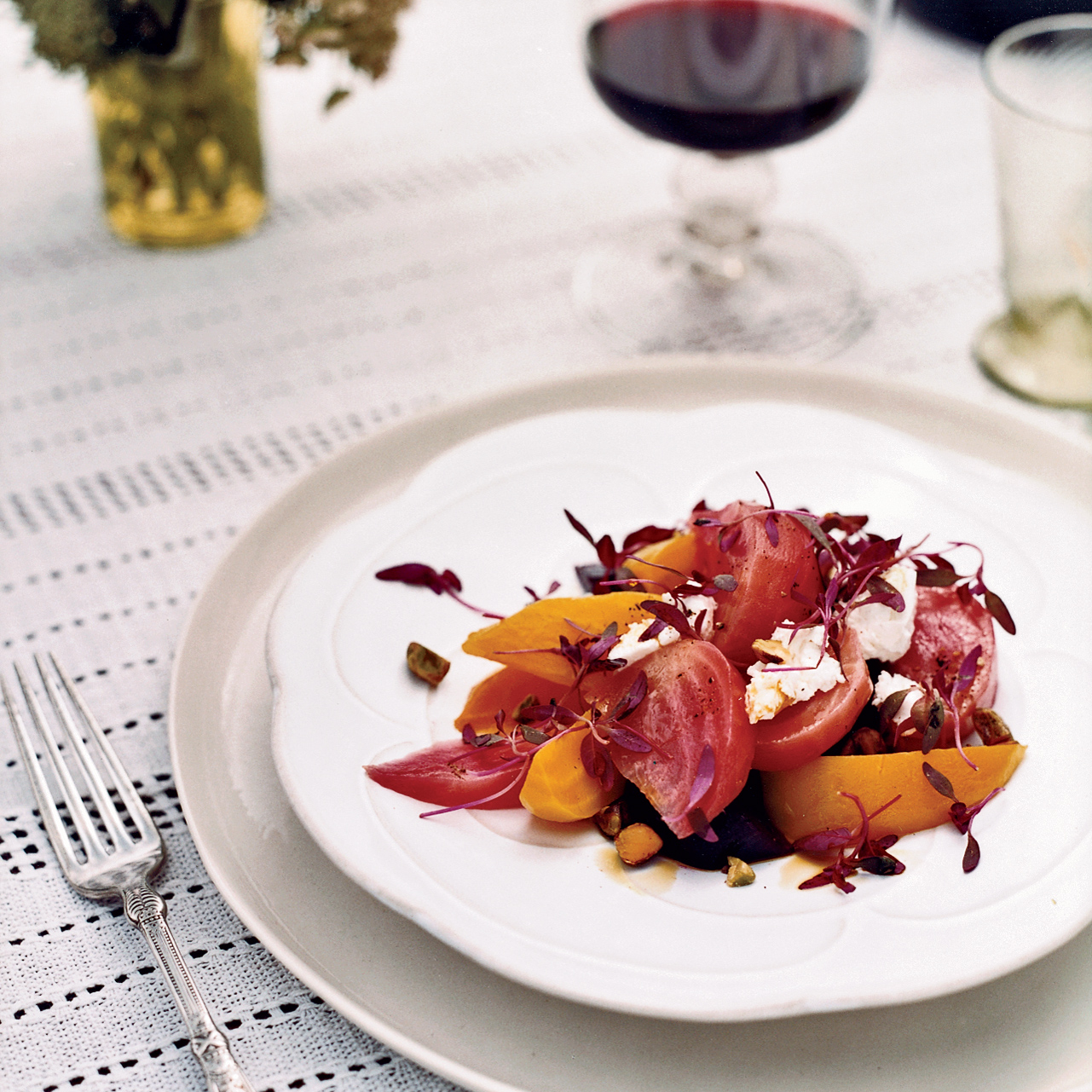 Roasted Beet Salad with Goat Cheese and Pistachios Recipe - Gerry ...