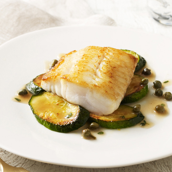 Vinegar-Poached Sturgeon with Thyme-Butter Sauce