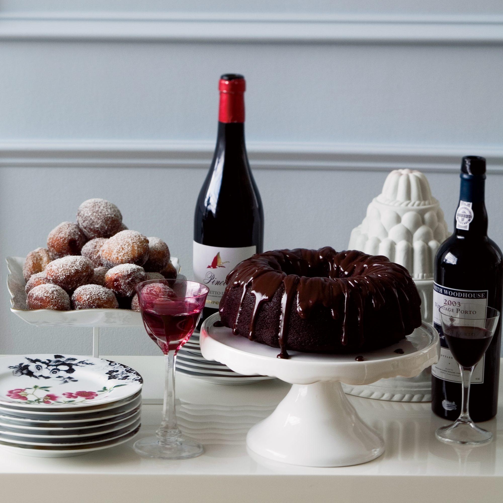Wine Pairings for Holiday Desserts: Double-Chocolate Bundt Cake with Ganache Glaze
