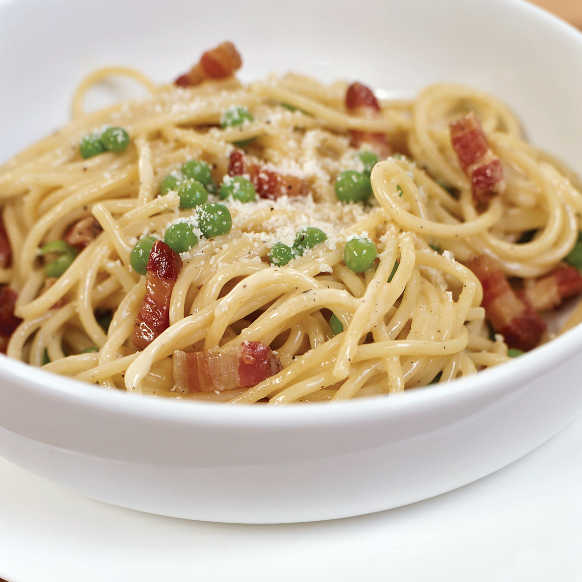 Pasta Carbonara With Peas Recipe — Dishmaps