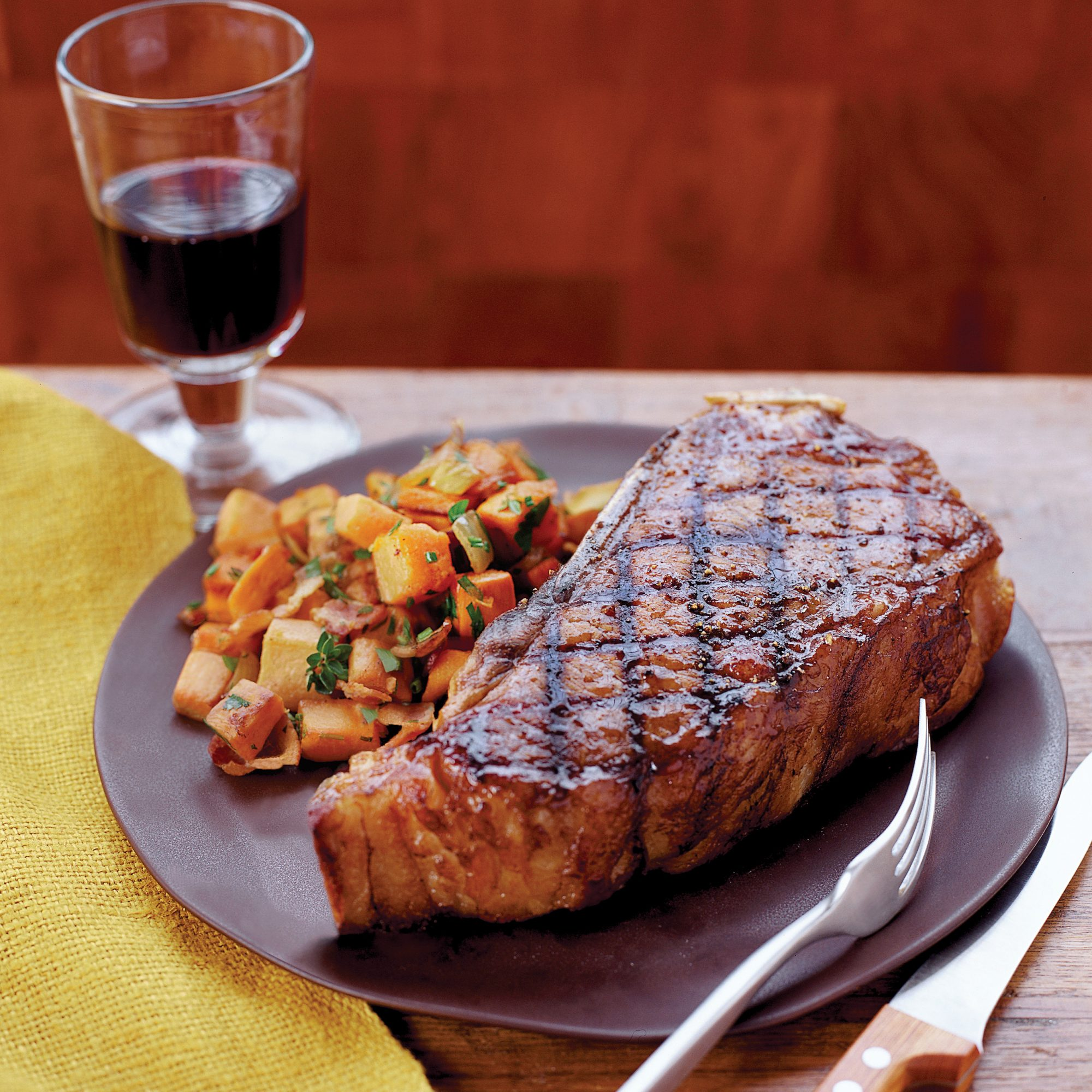 How to Cook Steak: Grilled Strip Steaks with Sweet Potato Hash Browns