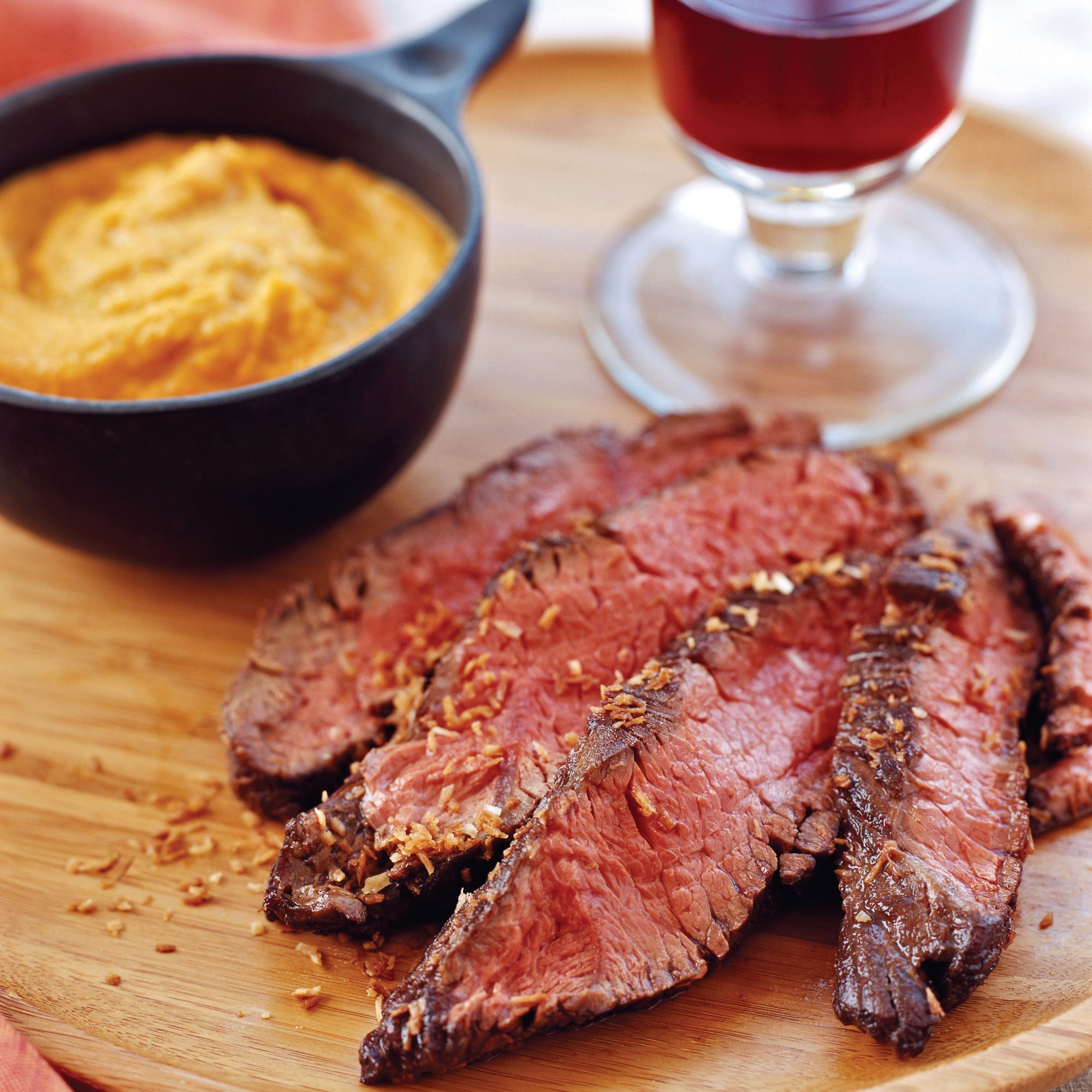 Malabar Spice-Crusted Hanger Steaks with Gingered Carrot Puree